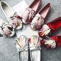 2016 Новое Прибытие Удобные Женщин Повседневная Обувь Кисточкой Fringe Мода Роскошные Бисера Леди Бездельники Обувь Скольжения На Беременных Ню Обувь