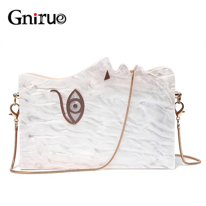 2018 Wood Personality Splicing White Acrylic Retro Unique Half Face Hard Box Evening Bag Ridesmaid Handbag Luxury Clutch Purses