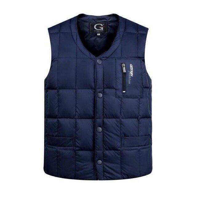 #1022 Thick Slim White goose down Men winter parka Sleeveless vest men Bodywarmer Duck down jacket Mens warm vest Waistcoat 3XL