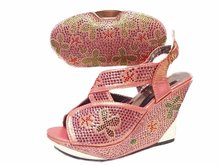 JA114 Fashion African Rhinestones Woman Shoes And Bag Set New Elegant Women Slipper And Bag In Pink.Free Shipping
