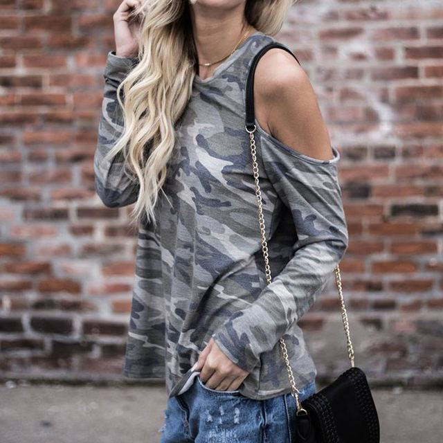 Women Sexy Long Sleeve Off Shoulder Camouflage T-shirt Casual oose T-shirts Spring Autumn Tops FS99