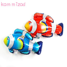 Hot 12pcs/lot big clown fish foil helium balloons Tropical sea animal ballon birthday party decorations kids air globos supplies