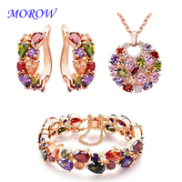 MOROW Colorful Zircon Crystal Necklace Earrings Bracelet Set Rose Gold Color Fashion Classic Jewelry Sets for Women Girl Gift