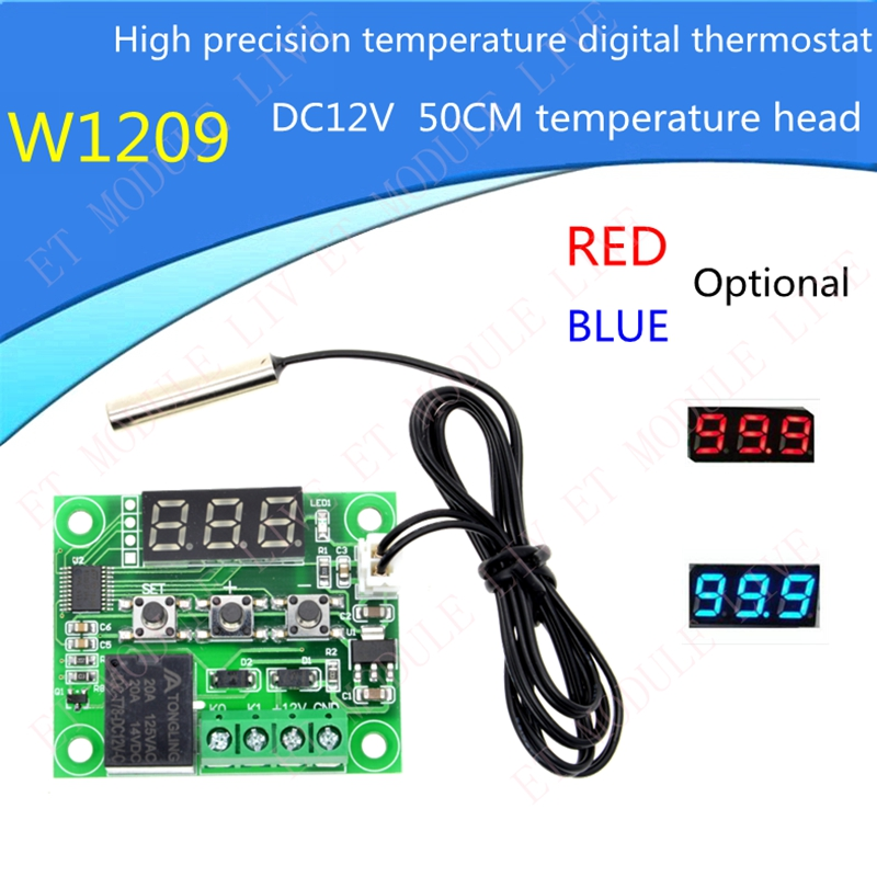 W1209 DC 12V heat cool temp thermostat temperature control switch temperature controller thermometer 50CM thermo controller ac 250v 20a normal close 60c temperature control switch bimetal thermostat
