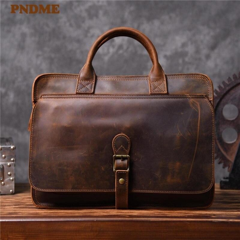 PNDME High Quality Crazy Horse Cowhide Men's Briefcase Vintage Simple Genuine Leather Laptop Bag Office Business Messenger Bags