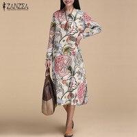 New Arrival 2017 Autumn ZANZEA Women Dress Casual Loose Vintage Print Party Dresses Long Sleeve O