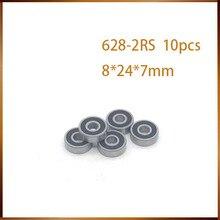 10 шт. ABEC 628 2RS 628RS 628-2RS 628 RS 8x24X8 мм миниатюрный двойной резиновый уплотнитель высокого качества глубокий шаровой подшипник