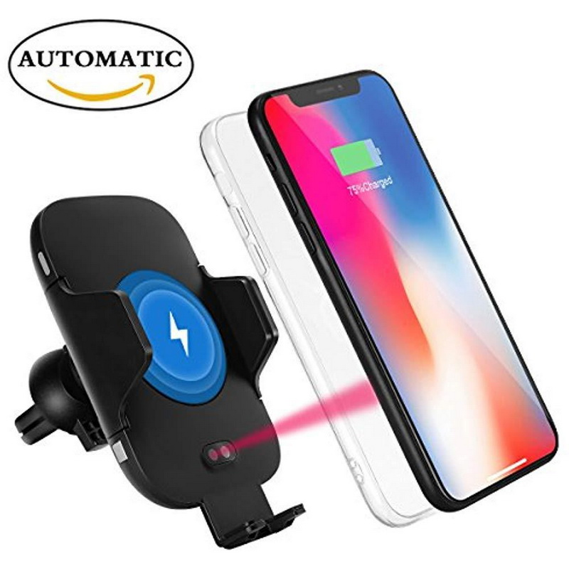 Fashion Wireless Charger Car Holder Case For iPhone X 10 XS 8 Plus For Samsung S8 S9 Note 9 8 S7 Automatic Infrared Sensor Cover