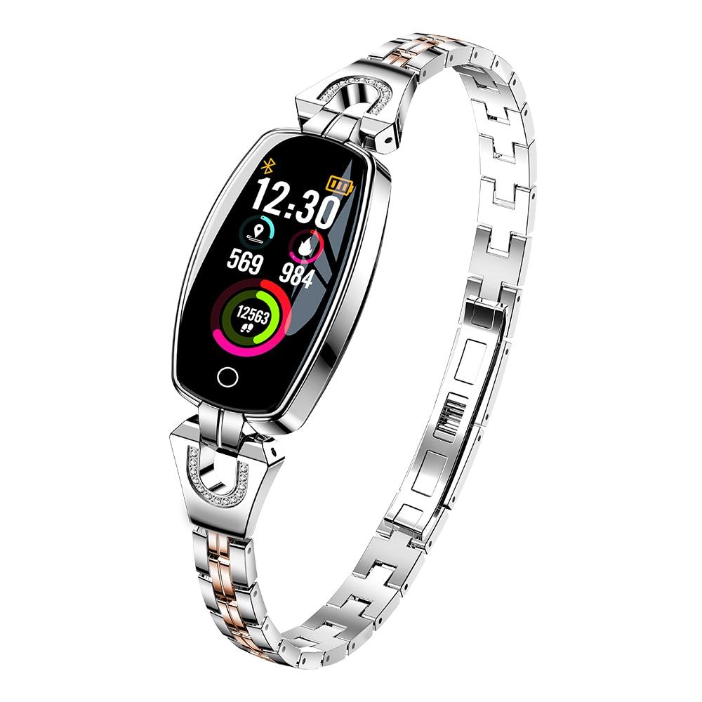 Умный браслет леди монитор сердечного ритма водонепроницаемые Смарт-часы Шагомер BLE 4,0 смарт-браслет IP67 фитнес - Цвет: silvery