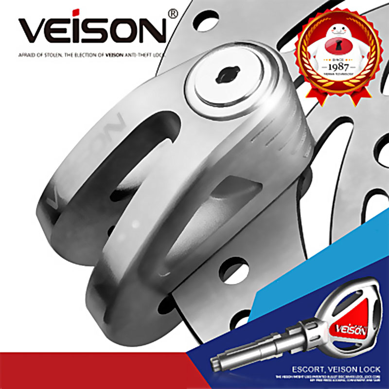 VEISON Motorcycle Safety Anti-Theft Lock Disc Brake Lock Electric Car Lock 304 Stainless Steel Anti-Rust Waterproof Disc Lock