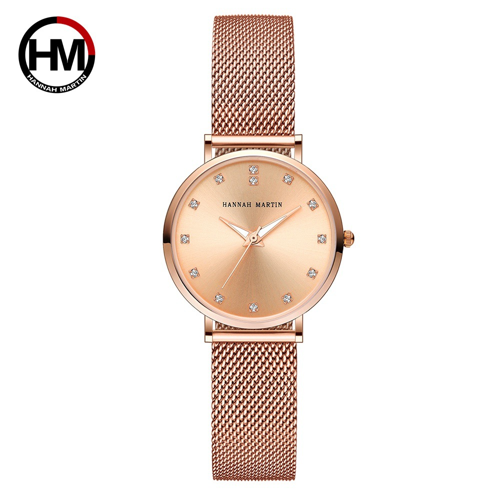 Hannah Martin Rose Gold Women Watches Luxury Ladies Watch Crystal Quartz Wristwatch relogio feminino Reloj Mujer Clock Gift Box sinobi rose gold luxury wrist watch clock women reloj mujer ladies quartz watch women waterproof relogio feminino 2017 with date