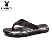 PLAYBOY New Arrival Men Casual Flip Flops Big Size 39-45 Home / Beach Slippers Man Summer Flat Shoes Deep Gray(China)