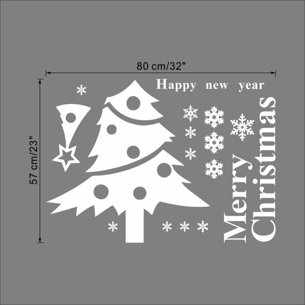 * Merry Christmas tree snow PVC Wall Stickers glass DIY Wall Art living room coffee shop Sofa TV Backdrop Background waterproof