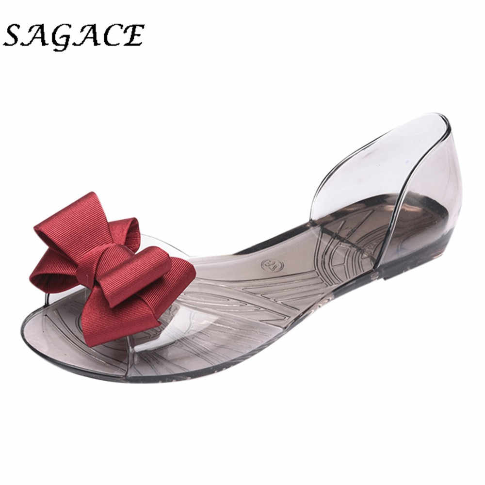 SAGACE Shoes Women PVC Flat sandals Bownot Transparent Jelly beach sandals 2019 summer ladies sandals Non-slip casual shoes