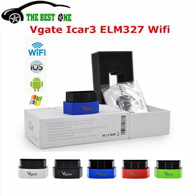 Prix pour D'origine Vgate iCar3 Elm327 Wifi Sur IOS/Android/PC Pour Tous Les VÉHICULES CAN OBDII protocoles Vgate iCar 3 WIFI ELM 327 OBD2 Diagnostique De Voiture Scanner