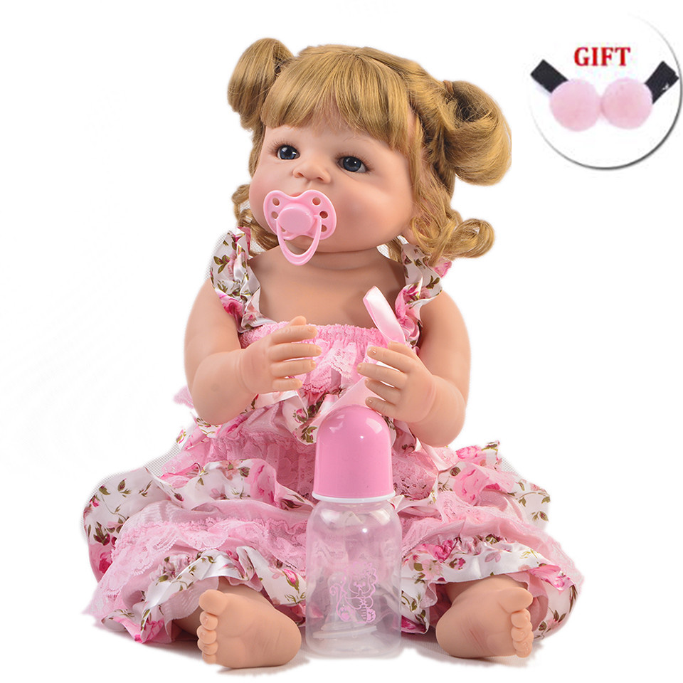 Full vinyl silicone reborn baby doll blond hair girl reborn babies alive doll for child gift