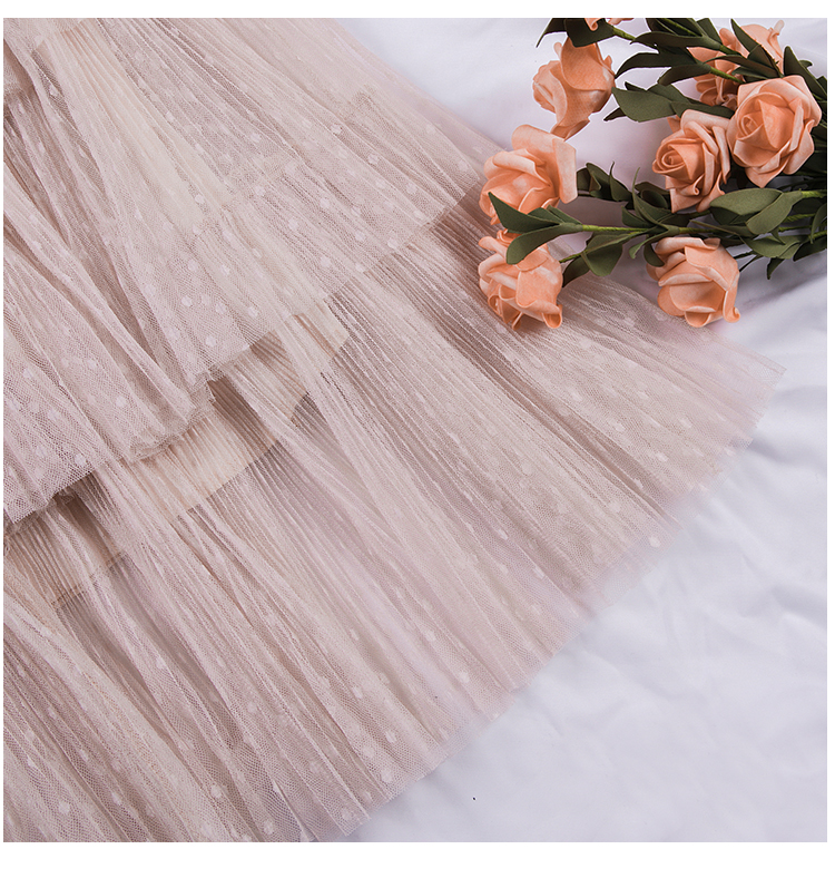 Fitaylor Spring New Sweet Cake Layered Long Mesh Skirts Princess High Waist Ruffled Vintage Tiered Tulle Pleated ins Skirts 15