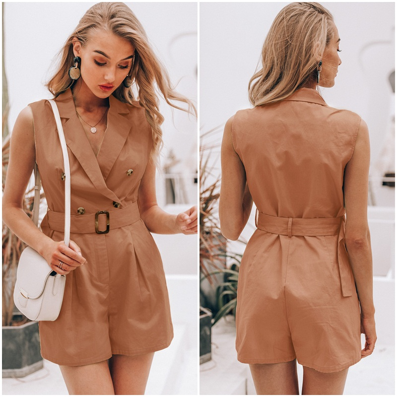 HTB1tYHbSbrpK1RjSZTEq6AWAVXaW - Simplee Elegant sashes khaki cotton women playsuit Summer pockets button zipper rompers short jumpsuit Office ladies overalls