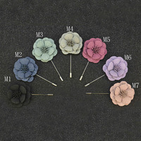 Mantieqingway Wholesale Fashion Mens Suit Flower Lapel Pin Brooches Wedding Party Solid Color Men Brooch Lapel