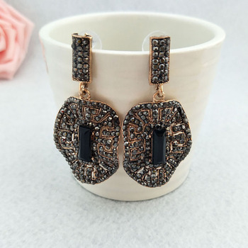 5 Pairs Fashion oval earrings Paved Rhinestone Crystal Charms Dangle earrings Jewelry for women ER508 image