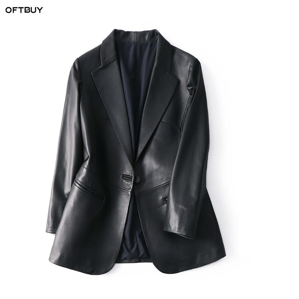 OFTBUY 2019 Office Ladies Blazer Feminino Elegant Blazer Women Blazers And Jackets Real Sheepskin Leather Jacket Black Coat