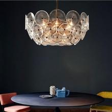 Стеклянный Ретро американский золотой кристалл подвесной светильник Железный для столовой ресторан спальня гостиная светодиодный лампы