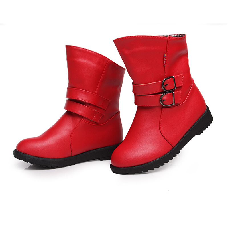 High Quality Solid Kids Boots Girls Shoes New Fashion PU Leather Boots Girls Winter Boots Kids Warm Cotton Children Boots Girls high quality kids boots girls boots fashion leather snow boots girls warm cotton waterproof girls winter boots kids shoes girls