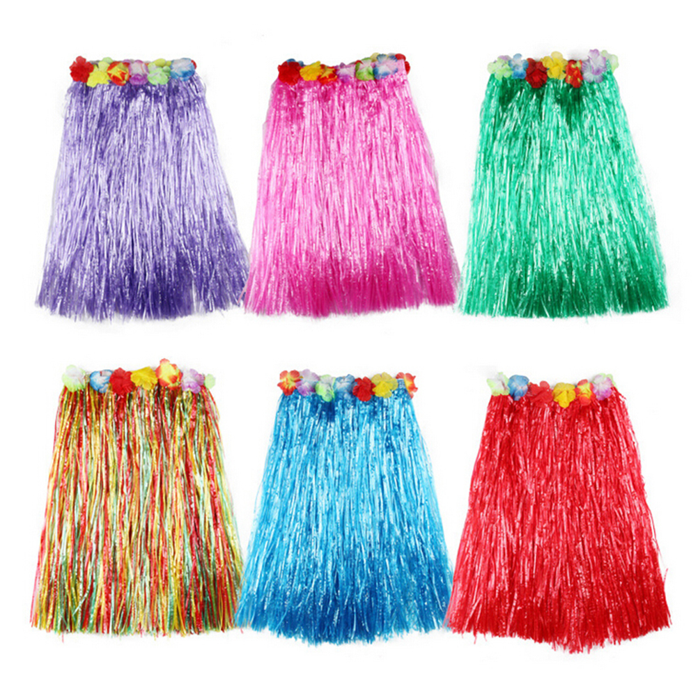 60CM Fun Hawaiian Party Decorations Supplies Dress Children Adult Hula Show Grass Beach Dance Activity Skirt Wreath Bra Garland