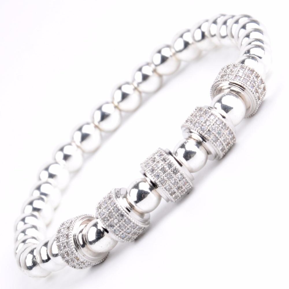 Bracelet à breloques Tube CZ de luxe pour hommes bracelet en pierre naturelle hématite Bracelets en perles Bracelets femmes bijoux cadeau fête des pères