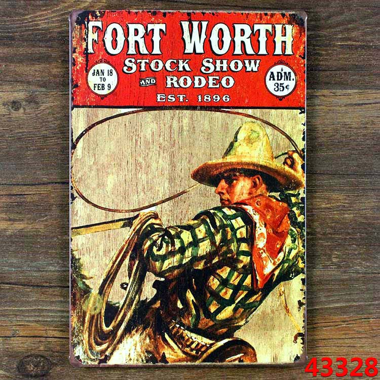 FORT WORTH COW BOY Metal Poster Vintage Pub Decoration Wall art Plaque 20*30 CM