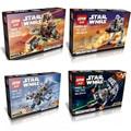 4 unids/lote buques de guerra de la nave espacial de star wars clone troopers r2d2 en-dp tie figuras building blocks establece juguetes lepin bircks kazi bela slu