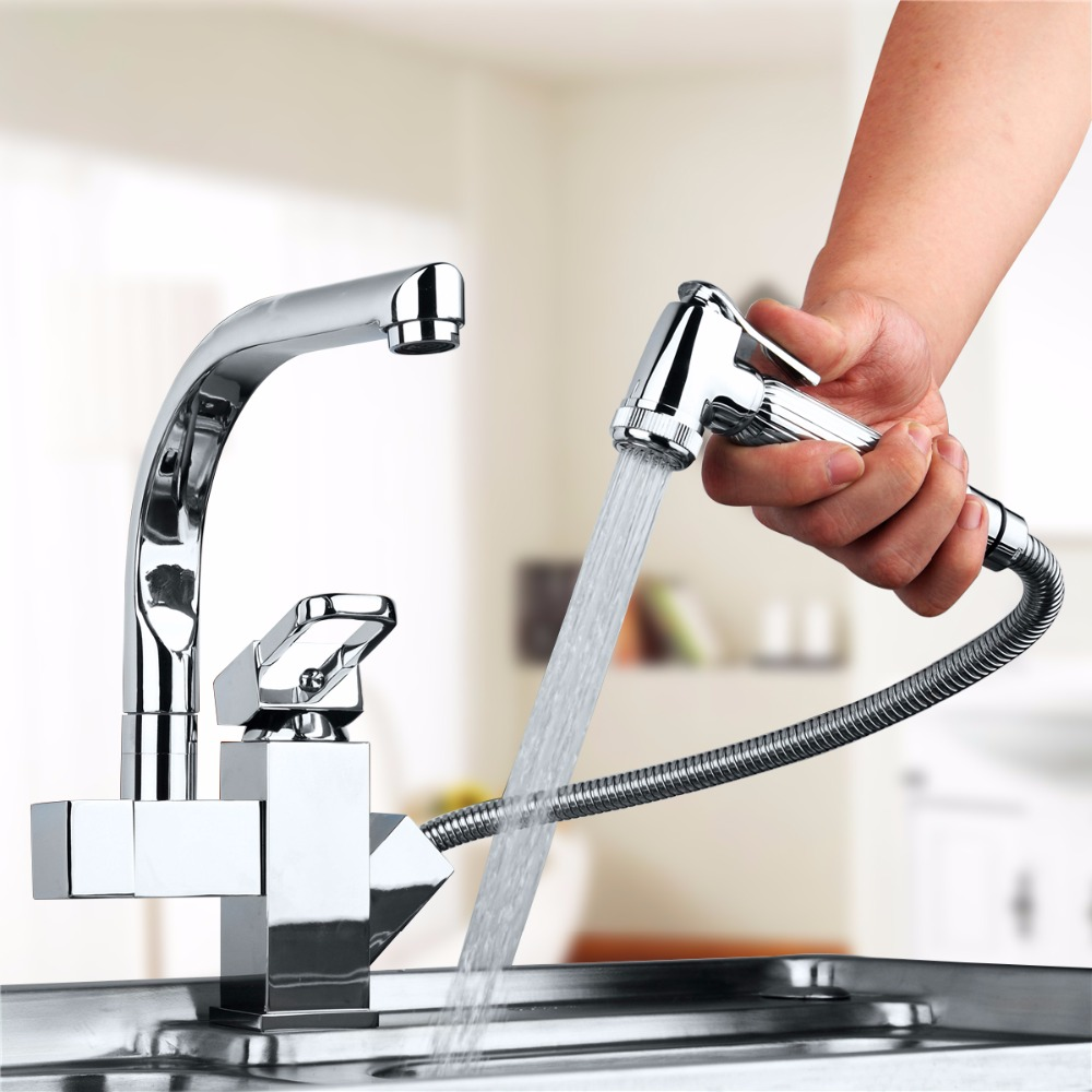 Brass Kitchen Faucet Swivel Spout Chrome Kitchen Sink Mixer Tap Pull Out Spray Swivel Spout Vessel Faucet Deck Mounted antique brass swivel spout dual cross handles kitchen