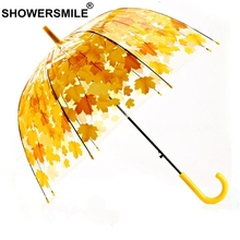 SHOWERSMILE Yellow Leaves Umbrella Transparent Mushroom Ladies Apollo Long Handle Parapluie Clear Rain