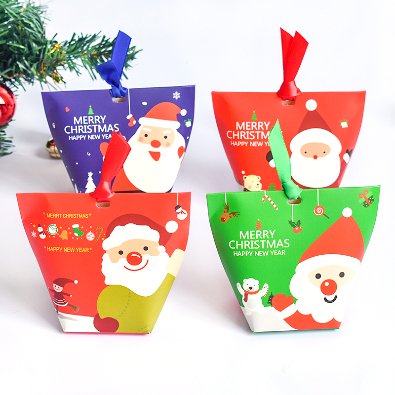 Us 1 53 31 Off 4pc Merry Christmas Gifts Boxes With Ribbonsanta Claus Snowman Xmas Tree Pyramid Candy Box Cookies Packaging With Bow Kidsfavors In