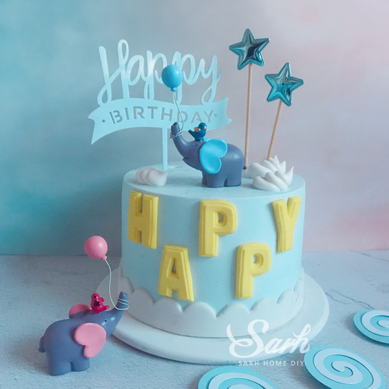 Blue Pink Elephant Balloon Lollipop Happy Birthday Collection Cake