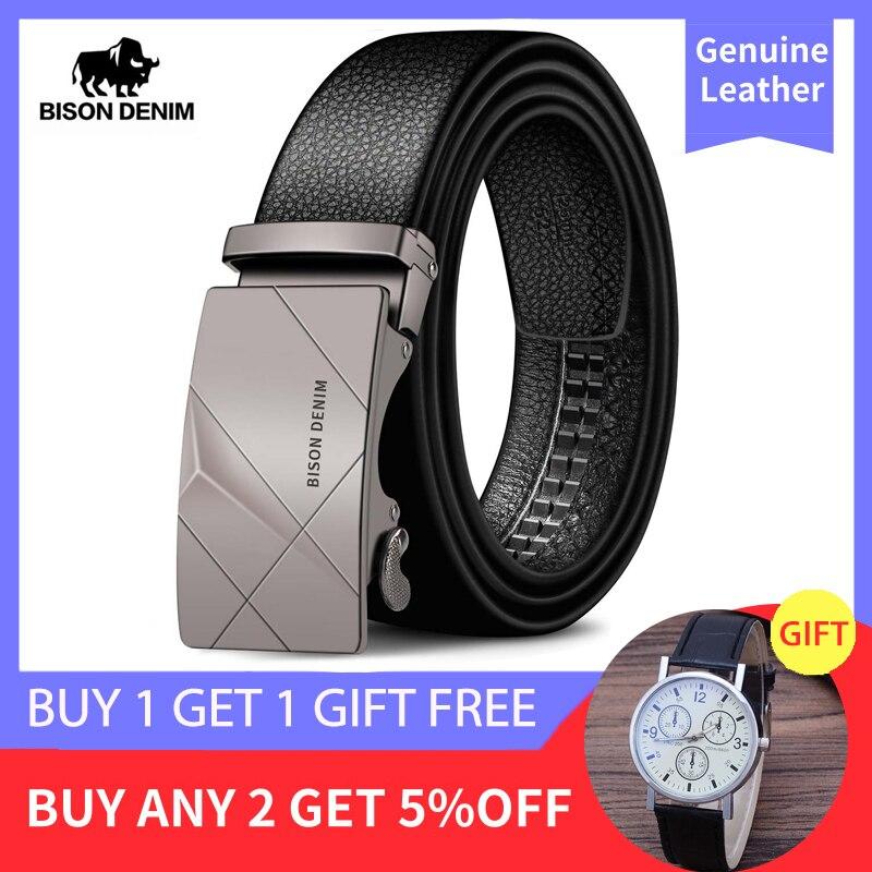 BISON DENIM Cow Genuine Leather Men's Belt Cowskin Strap for Male Automatic Buckle Belts for Men Alloy Buckle Belts N71477