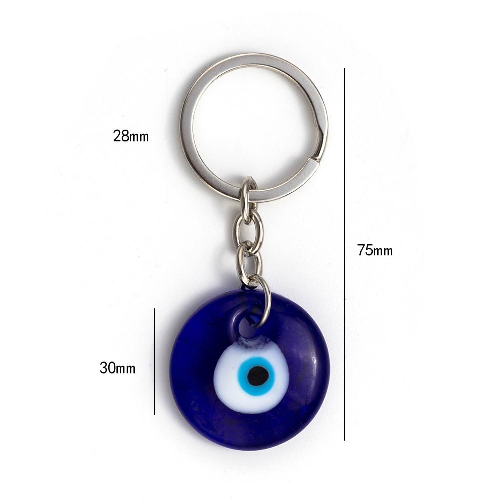 Lucky Eye Glass Evil Eye Keychain 3 սմ կլոր կապույտ - Նորաձև զարդեր - Լուսանկար 2