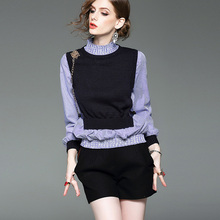 Stand collar Long sleeve Fake two piece suit Knitted stitching thin striped shirt Ladies Spring Autumn Cute Long Sleeve Blouse