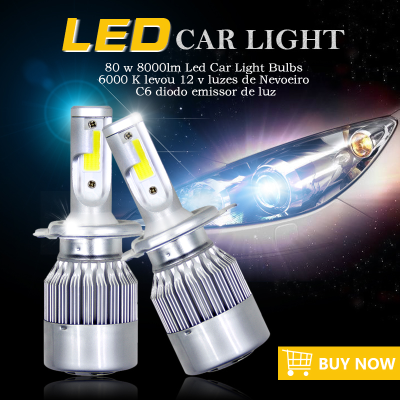 1pair H7 Led H4 Car Headlights 80w 8000lm Car Led Light Bulbs H1 H8 H9 H11 Automobiles Headlamp 6000K led 12v Fog Lamps C6 Led