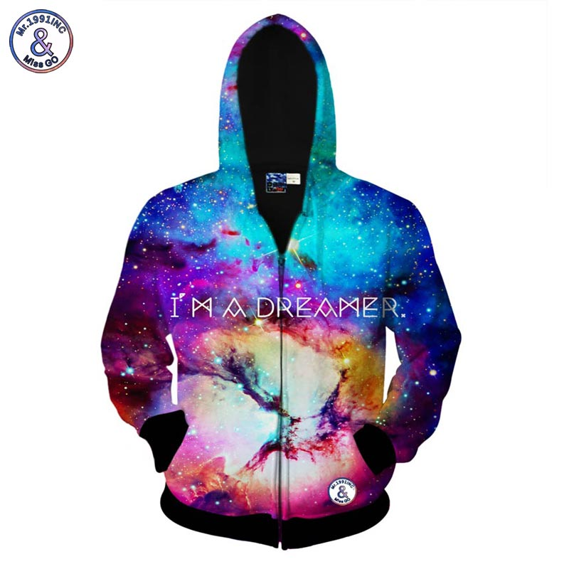 Mr 1991INC I AM A DREAMER space galaxy zipper jacket for men women 3d sweatshirt autumn