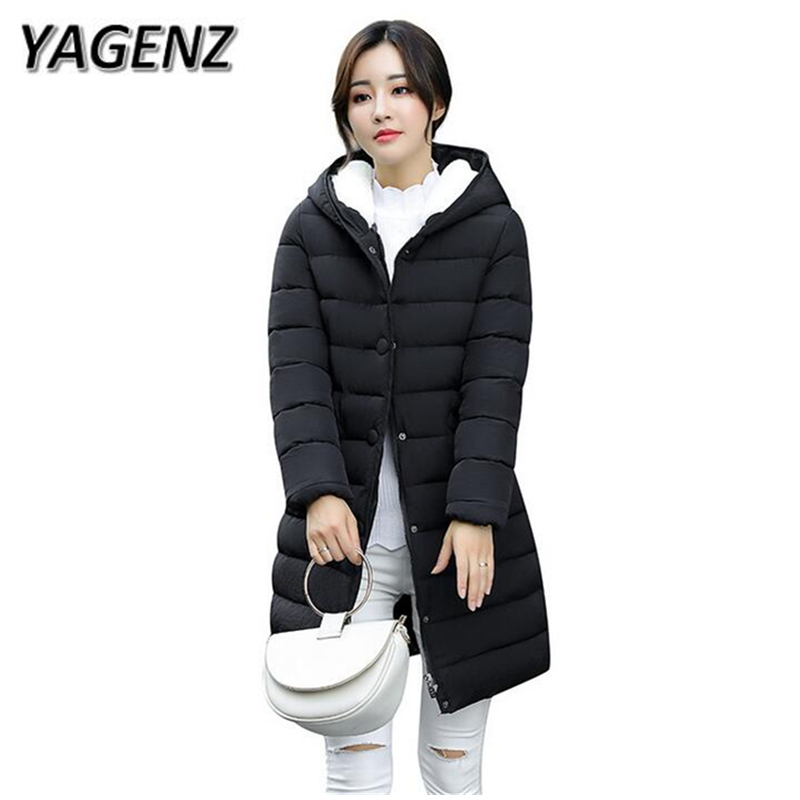 YAGENZ Winter New Jacket Hooded Women Plus Size 3XL Warm Parkas Female Cotton Jacket Casual Solid Lady Winter Jacket Hooded Coat yagenz 2017 women winter short jacket fashion slim hooded cotton jacket coat winter warm parkas female coats plus size m 3xl a91