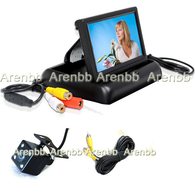 Universal 4.3 INch lcd Foldable Monitor +night vision 170 degree Rearview Car Camera ccd hd camera parking line system AR-F-154
