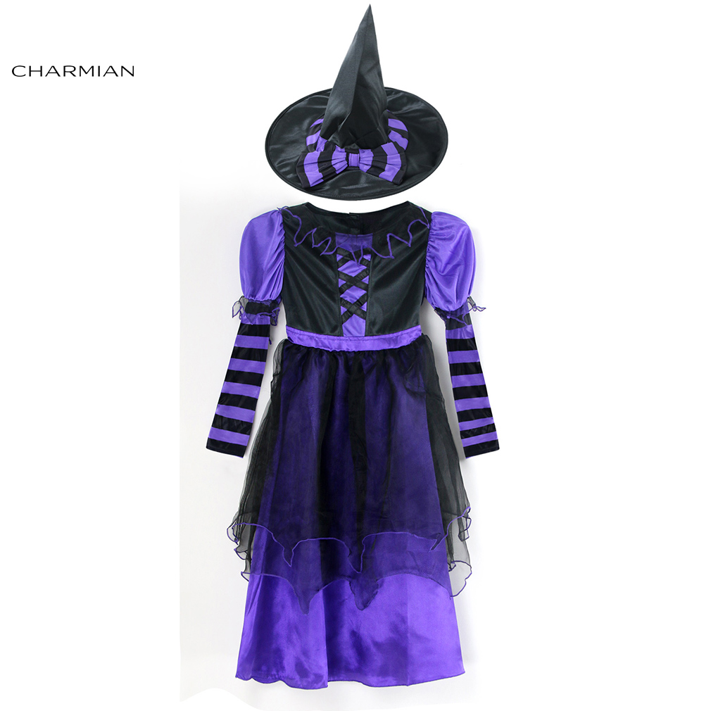 Charmian Purple Witch Halloween Costumes for Girls Children Cosplay Fancy Dress Masquerade Party Halloween Costume Clothing