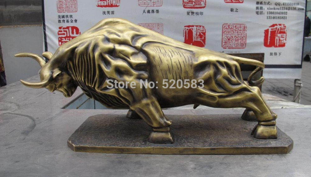 Chinese Bronze Copper Feng Shui Money Copper Ox Bull Corrida Statue