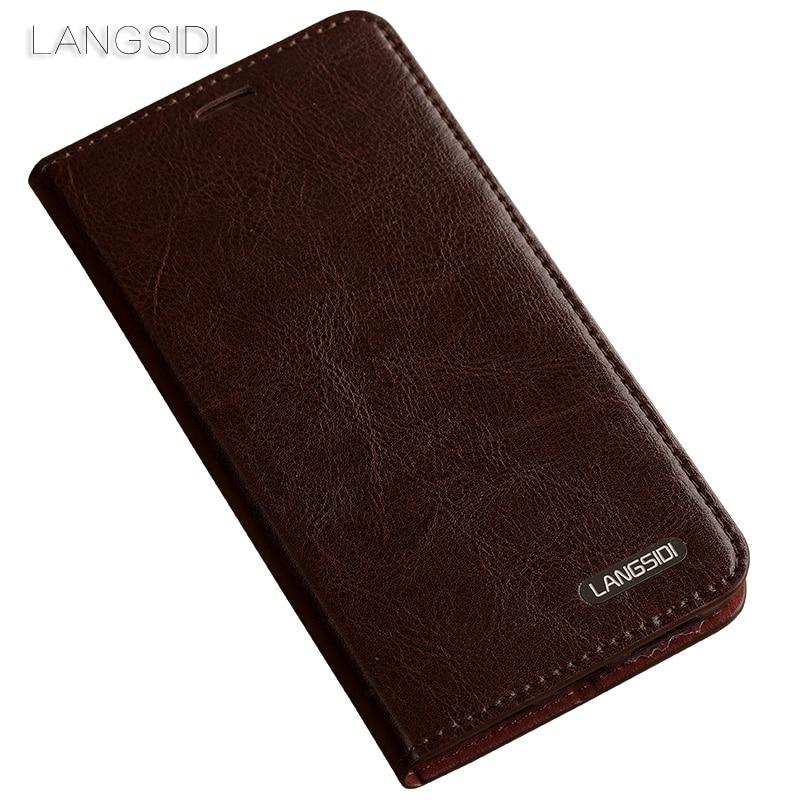 Wangcangli pour Xiao mi mi 5c coque de téléphone huile cire peau portefeuille flip Stand titulaire fentes pour cartes étui en cuir pour envoyer un film de verre de téléphone - 4
