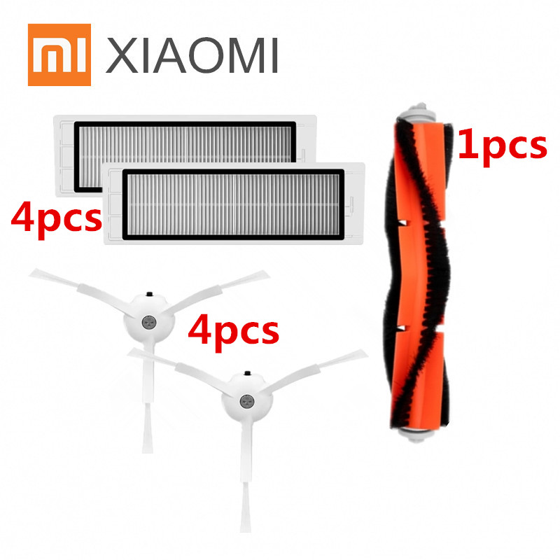 9pcs/lot Suitable for Xiaomi Mi Robot Vacuum Cleaner parts 1pcs main brush + 4pcsHEPA filter + 4pcs side brush 7pcs lot 3pcs hepa filter 3pcs side brush 1pcs main brush suitable for xiaomi mi robot vacuum cleaner parts accessories