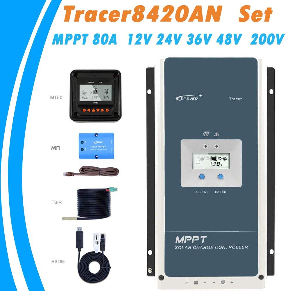 EPever MPPT 80A 200V Solar Panel Controller 12V 24v 36V 48V Auto Tracer8420A LCD Regulador Solar MPPT Charger RS485 WiFi MT50