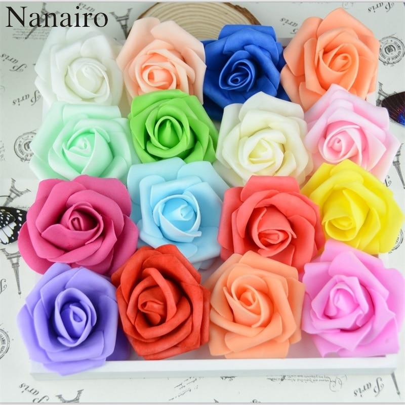 50 adet/grup 6cm El Yapımı Yapay PE Köpük Gül Çiçek Kafa Düğün Ev Araba Dekorasyon DIY Çelenk Öpücük Topu sahte Çiçekler