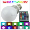 3W RGB 16 Color Light RGB Led Bulb rgb  E27  Lamp AC110V/220V +IR Remote Free shipping