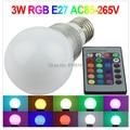 3W RGB 16 Color Light RGB Led Bulb rgb  E27  Lamp AC110V/220V +IR Remote Free shipping